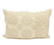 Fennco Styles Handmade Floral Design Crochet Lace Decorative Throw Pillow Sham - 100% Cotton