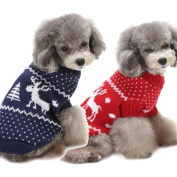 AIMTOPPY Christmas Elk Print Pet Dog Puppy High Collar Warm Clothes Outwear Sweater