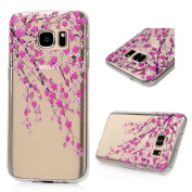 S7 Case,Galaxy S7 Case - Badalink Ultra Thin Anti-slip Soft TPU Case with Fancy Colourful Painting Pattern Clear Transparent Cover for Samsung Galaxy S7 (2016) - Branches with Pink Flowers