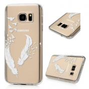 (Not for S7 Edge) S7 Case,Galaxy S7 Case - Badalink Ultra Thin Anti-slip Soft TPU Case with Fancy Print Pattern Clear Transparent Cover for Samsung Galaxy S7 (2016) - White Feather