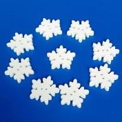 JYS Christmas White Wooden Snowflakes Buttons for Scrapbooking Craft - 50 Pcs