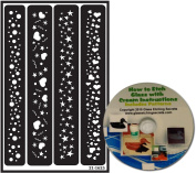 Heart, Stars & Circle Border Glass Etching Stencils, Reusable + Free How to Etch CD