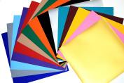 PU flex Heat Transfer Vinyl (HTV) for T Shirts garments bags and other fabrics - 15 Colour Sheets 25cm X 25cm - Assorted colours - Iron on Vinyl for T Shirts