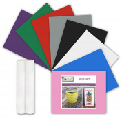 8 RAINBOW VINYL ASSORTED SELECTION 2 Sheets Adhesive Backed Transfer Paper