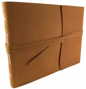 Large Rustic Genuine Leather Photo Album with Gift Box - Scrapbook Style Pages - Holds 400 10cm x 15cm or 200 13cm x 18cm Photos