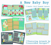 A New Baby Boy Scrapbook Kit - 5 Double Page Layouts