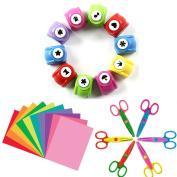 Since 10 PCS Craft Punch + 3 PCS Creative Scissors + 50 PCS Colourful Self Adhesive Paper for Card Scrapbooking Engraving Kid Cut DIY Handmade