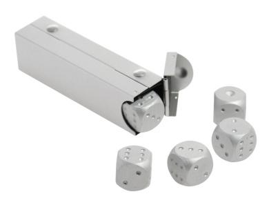 JustNile Aluminium Alloy 16mm 5 in 1 Dice In A Box Souvenir Set - Silver