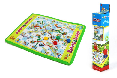 Roll-Out Snakes and Ladders Mat Board Game – A Portable Classic for the Whole Family to Enjoy!