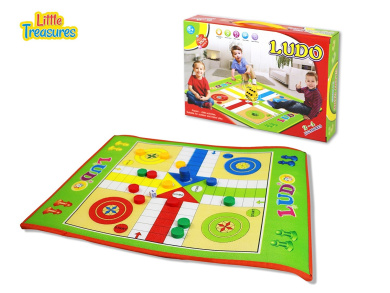 A winner for kids of age 3+, giant Ludo board game includes a game board, 16 tokens, a dice and a dice cup