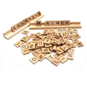 M-Aimee 200 SCRABBLE TILES - NEW Scrabble Letters - Pendants Crafts Spelling Pieces and TWO Scrabble Racks Lot