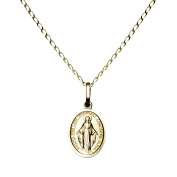 14k Yellow Gold Religious Mary Pendant Necklace 41cm Holy Religion