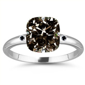 RINGJEWEL 5.09 ct SI3 Cushion Moissanite Solitaire Silver Plated Engagement Ring Dark Brown Colour Size 7