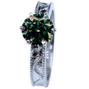 RINGJEWEL 1.49 ct SI1 Round Real Moissanite Solitaire Engagement Silver Plated Ring Green Colour Size 7