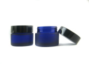 3 Pcs 30ml Empty Upscale Refillable Blue Glass Bottle Cosmetic Container Pot Case Holder with Black Lid