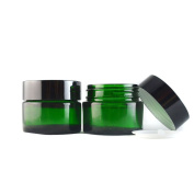 3 Pcs 30ml Empty Upscale Refillable Green Glass Bottle Cosmetic Container Pot Case with Black Lid