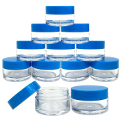 Beauticom 12 Piece 20g/20ml USA Acrylic Round Clear Jars with Lids for Lip Balms, Creams, Make Up, Cosmetics, Samples, Ointments and other Beauty Products (Blue Lid