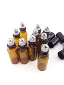 10 Bottle Set Fireboomoon 10ml Glass Roller Bottles Solid Amber Glass Roller Bottles with Stainless Steel Roller Balls,for Aromatherapy Perfumes and Lip Balms