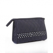 Belvah Black Quilted Cosmetic Bag White Polka Dots