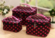 HOYOFO 3 Pcs/Set Travel Makeup Storage Bags Polka Dots Pattern Cosmetic and Toiletry Organiser Bags(3 Sizes/Set