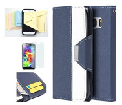 Galaxy S7 Case, Wristlet Pouch Case Flip Folio Kickstand Feature w/ ID Card Slot -Retail Packaging- Momiji [Screen Guard] Cleaning Cloth for Samsung Galaxy S7-Navy/White