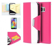 Galaxy S7 Case, Wristlet Pouch Case Flip Folio Kickstand Feature w/ ID Card Slot -Retail Packaging- Momiji [Screen Guard] Cleaning Cloth for Samsung Galaxy S7-Pink/White