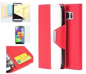 Galaxy S7 Case, Wristlet Pouch Case Flip Folio Kickstand Feature w/ ID Card Slot -Retail Packaging- Momiji [Screen Guard] Cleaning Cloth for Samsung Galaxy S7-Red/White