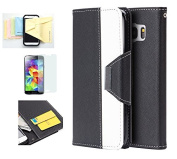 Galaxy S7 Case, Wristlet Pouch Case Flip Folio Kickstand Feature w/ ID Card Slot -Retail Packaging- Momiji [Screen Guard] Cleaning Cloth for Samsung Galaxy S7-Black/White