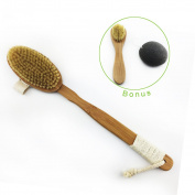 Hairizone Nanmu Bamboo Body Brush Spa Kit - 100% Natural Boar Bristle Brush + Mini Face Brush + Konjac Sponge + Bath Ball, Perfect for Cleaning Skin, Exfoliating Scrub and Improving Circulation