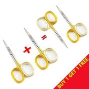 Golden Stainless Steel Nail Scissors / Shears (8.9cm Inch ) Straight Razor Sharp Blades for Cutting & Trimming Cuticles, Fingernails with using less effort By Unicorn Plus