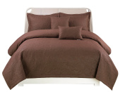 Peach Couture Home Collection Embossed Paisley 5 pcs Quilt Set Brown King