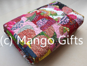 Indian Quilt Pure Cotton Premium Gudri (Quilt), Floral Print, King Size, Patch Work Quilt, King Size Bedspread 230cm X 270cm King Size By Mango Gifts