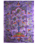 YAPREE HANDMADE COTTON TAPESTRY BEDSPREAD WALL HANGING PEACOCKS TREE OF LIFE DESIGN
