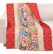 Barefoot Bungalow GL-1609ATHR Gypsy Rose Quilted Throw Blanket