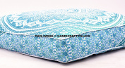 Ombre Mandala Large Floor Cushion Handmade Lounge Seating Ottoman Pillow Cover Indian Oversized Ottoman Pouffe Square Pillow Handicraftspalace
