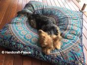 Square Elephant Mandala Floor Pillow Indian Cushion Cover Floor Pillow Sham Ottoman Floor Pouffe Oversized Sofa Large Dog Bed 90cm x 90cm