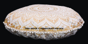 Large Gold Ombre Mandala Floor Pillows Round Bohemian Meditation Cushion Cover Ottoman Pouffes Sham Indian Tapestry 80cm Inch