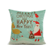 Christmas Theme Cartoon Santa Claus Elk Merry Christmas Pattern Cotton Linen Square Decorative Throw Pillow Case Home Decor Cushion Cover 46cm x 46cm