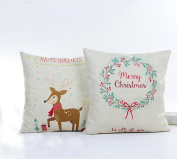 Christmas Theme Cartoon Elk Merry Christmas Pattern Cotton Linen Square Decorative Throw Pillow Case Home Decor Cushion Cover 46cm x 46cm