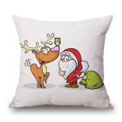 Santa Claus Elk Pattern Christmas Theme Cotton Linen Square Decorative Throw Pillow Case Home Decor Cushion Cover 46cm x 46cm