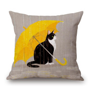 Raining day Cute Cat serial Retro Style Cotton Linen Square Decorative Throw Pillow Case Home Decor Cushion Cover 46cm x 46cm