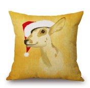 Christmas Theme Christmas Elk Serial Cotton Linen Square Decorative Throw Pillow Case Home Decor Cushion Cover 46cm x 46cm