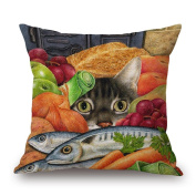Lazy Cute Adorable Cat serial Cotton Linen Square Decorative Throw Pillow Case Cushion Cover 46cm x 46cm