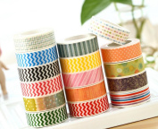 TKmell 3 Rolls Colourful Washi Masking Tape Wide Japanese Decorative Paper Tape with Geometric Pattern Designs, Cute Coloured Collection Sticky Paper Masking Adhesive Tape Scrapbooking DIY