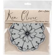 Ken Oliver Cut 'N Colour Cling Stamp-Poppy Mandala