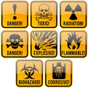Hazard Danger Toxic Radiation Symbol Alert Decals Stickers | For Bento Box, Meal Prep Bag, Containers, Water Bottle, Coffee Tea Mug | 200-Pieces 3.8cm X 3.8cm
