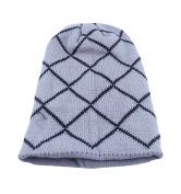 Qingsun Unisex Long Slouchy Beanie Knit Crochet Skull Cap Grid Thicken Warm Winter Hat Cap