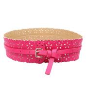 Doinshop New Womens Wide Waist Belts Leather Pu Buckle Hollow Flower