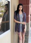 (5 colours) Women's Shimmer Metallic Multicolor Stripe Scarf, Jewel Pashmina Tassel Shawl