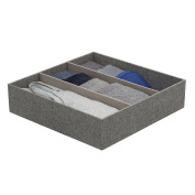 Arrow Weave Canvas 3 Compartment Drawer Organiser 30cm By 30cm - In Grey